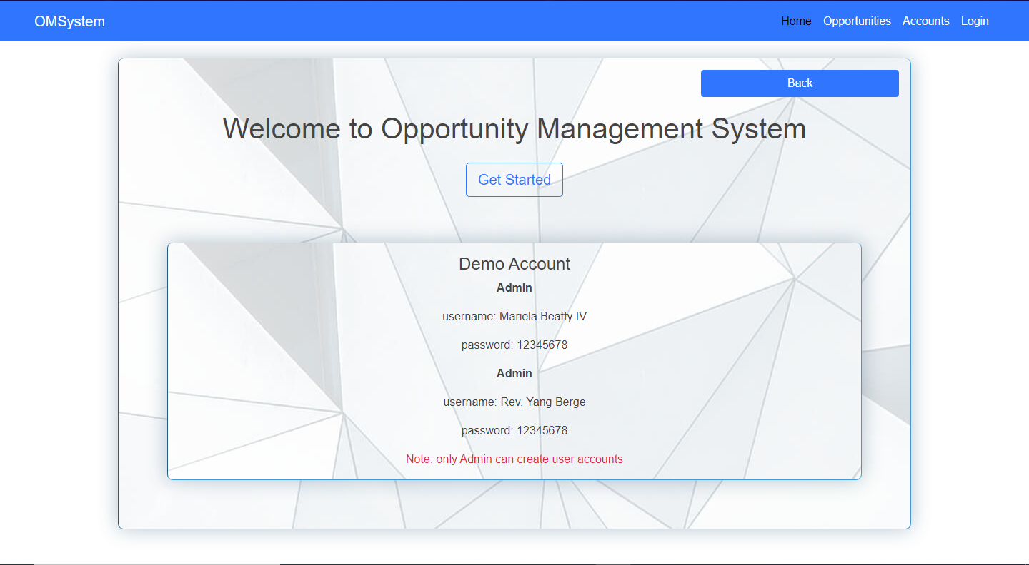 ruby on rails opportunity management system